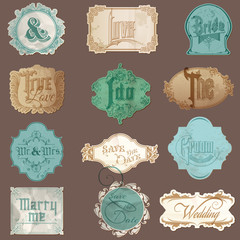 Calligraphic Wedding Elements in Vintage Frames - in vector