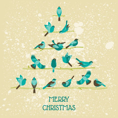 Retro Christmas Card - Birds on Christmas Tree - for invitation