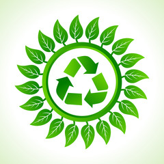 Recycle icon  inside the leaf background stock vector