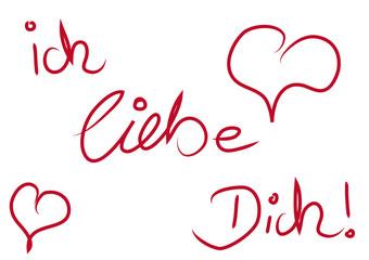 Ich liebe Dich Herzen rot Handschrift