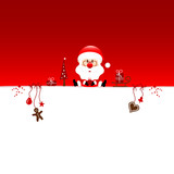 Background Christmas Santa Glasses & Symbols Red