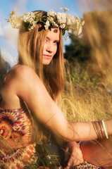 attractive hippie girl