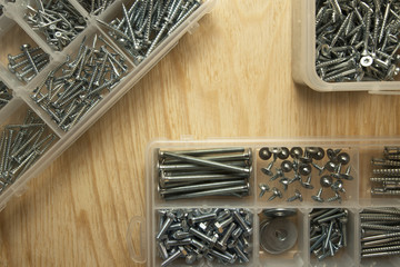 Screws and bolts in boxes