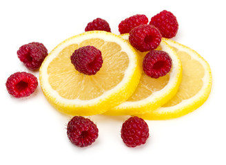 raspberry and lemon isolated