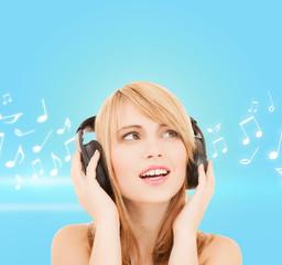 happy girl with headphones