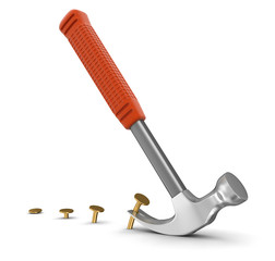 Hammer  and nails (clipping path included)