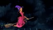 Girl in witch's hat flying on broomstick.