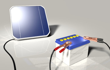 Solar panel charges a car battery