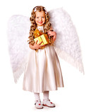 Child at angel costume holding gift box.