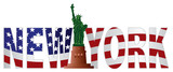New York Text Outline US Flag in Color Vector Illustration