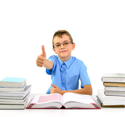 Young businessman boy with books