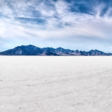 Bonneville salt flats with sky