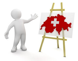 Man and Swiss map (clipping path included)