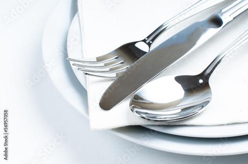 Leinwandbild Motiv Shiny new cutlery, silverware