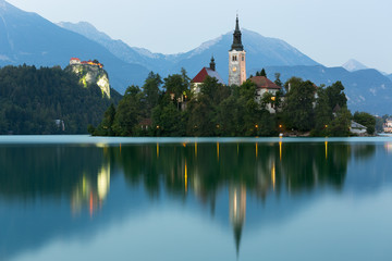 Bled Island and Bled Castle at dusk, Bled, Slovenia