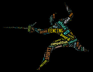 fencing pictogram with colorful related wordings on black backgr