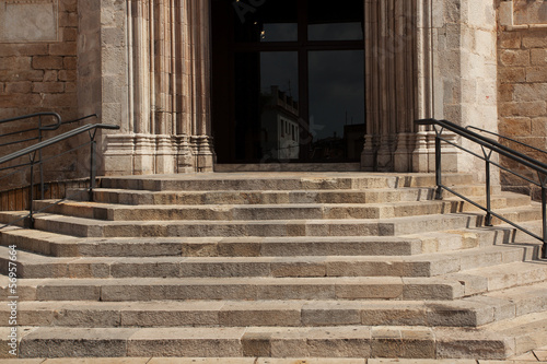 Stone staircase with a handrail