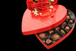 Heart Boxed Candies Isolated Over Black
