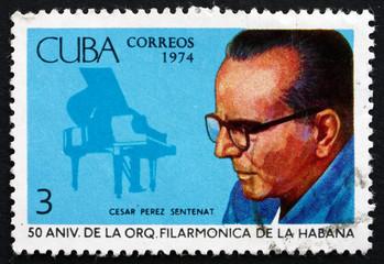 Postage stamp Cuba 1974 Cesar Perez Sentenat, Piano