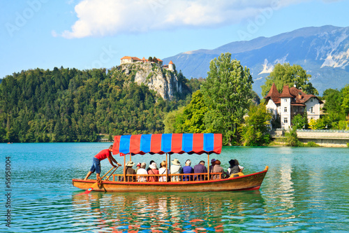 Boat and lake Bled, Slovenia