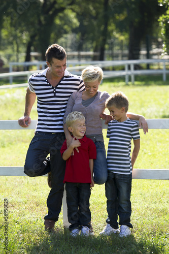 Young family enjoying the outdoors