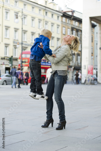 Mother and son in London street