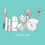 cosmetics on a blue background