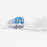 Blue Train Is Approaching on a Snow-covered Railway in Winter