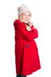 kleines Mädchen im roten Mantel