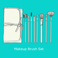 Makeup Brush Set  on a blue background