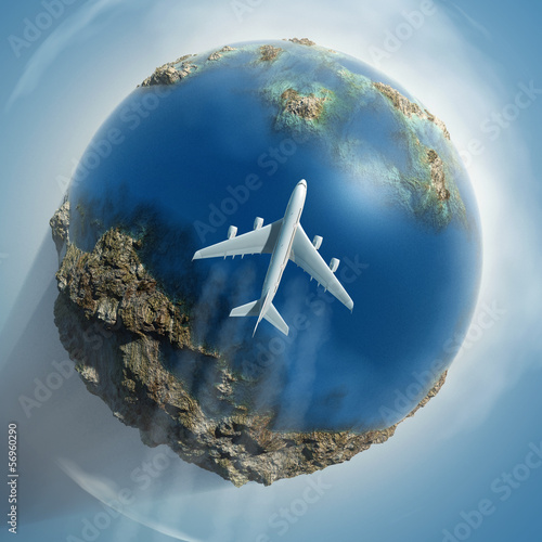 airplane flying over Earth