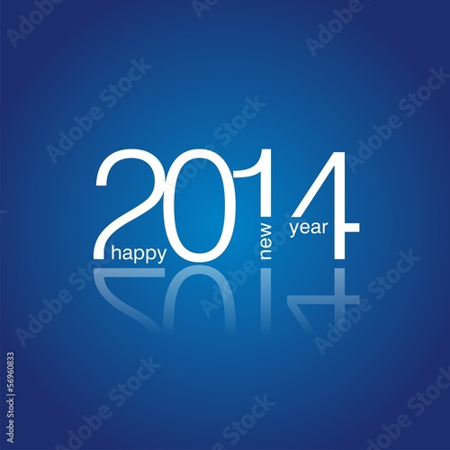 Happy New Year 2014 blue vector