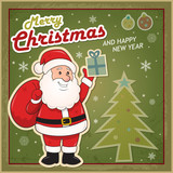 Vintage Christmas card with Santa Claus eps10