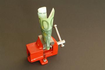 Euro, Schraubstock, Symbol, Währung, Finanzkrise