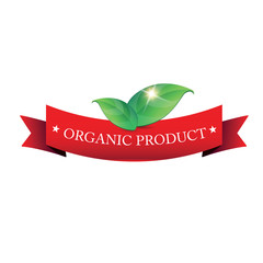 Organic product ribbon with green leaves