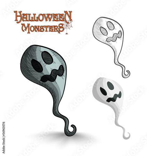 Halloween monsters scary cartoon ghost EPS10 file.