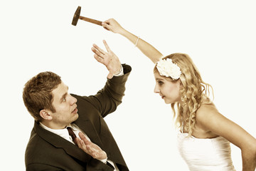 Wedding couple in fight, conflict bad relationships