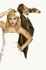 Wedding couple, unhappy bride with alcoholic groom