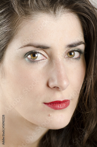 Close up beauty brunette portrait