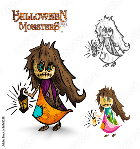 Halloween monsters scary cartoon dirty witch EPS10 file.