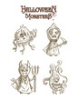 Halloween monsters scary sketch style cartoons set EPS10 file.