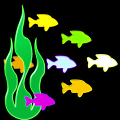Vibrant neon fish swimming through the water - abstract