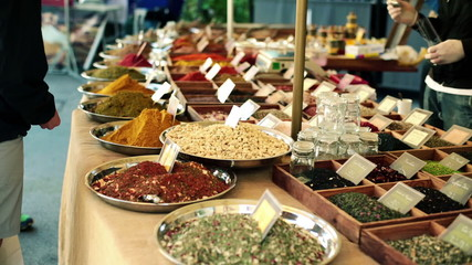 Seasonings on outdoor city market