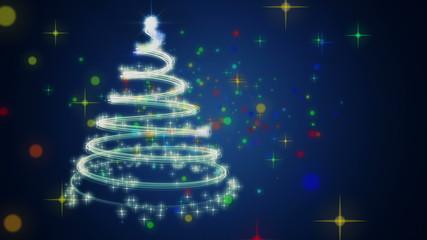 fantastic christmas tree animation with stars – loop HD