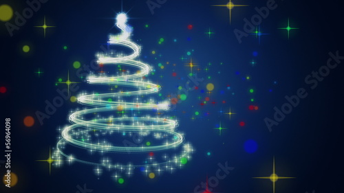 fantastic christmas tree animation with stars – loop HD