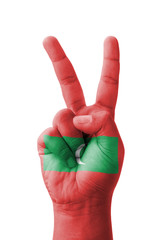Hand making the V sign, Maldives flag painted