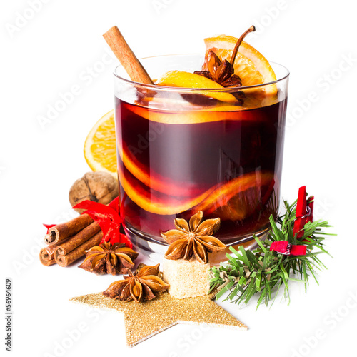Glass with Hot red mulled wine for winter and Christmas with ora