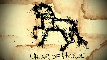 Year of horse draw 2014 black ink - looping animation