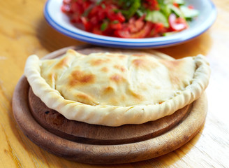 Calzone and salad a