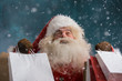 Santa Claus outdoors in snowfall holding shopping bags